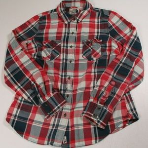 North Face Women Sz M Flannel Button Shirt
